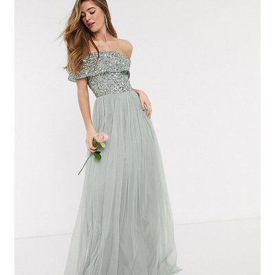 Maya Tall Bridesmaid bardot maxi tulle dress with tonal delicate sequins in sage green