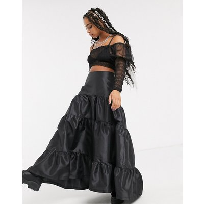 Milk It vintage tiered maxi skirt in taffeta-Black