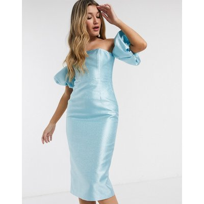 Mossman structured puff sleeve midi dress in powder blue