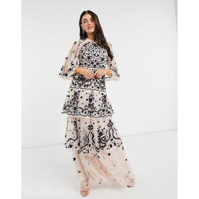 Needle & Thread contrast bow lace maxi dress in cream and black