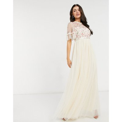 Needle & Thread embellished tiered sleeve midaxi dress in champagne-White