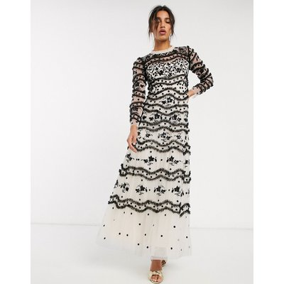 Needle & Thread embroidered contrast maxi dress in black and cream floral-Multi