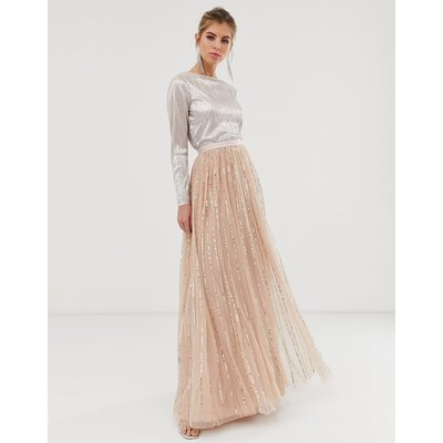Needle & Thread shimmer sequin maxi skirt in rose-Pink