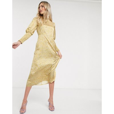 Never Fully Dressed frill neck midaxi dress in yellow ditsy print-Multi