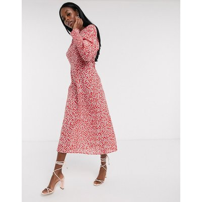 Never Fully Dressed long sleeve midaxi dress in red floral print-Multi