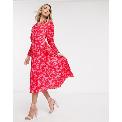 Never Fully Dressed midaxi dress with shirred sleeve detail in contrast floral-Multi