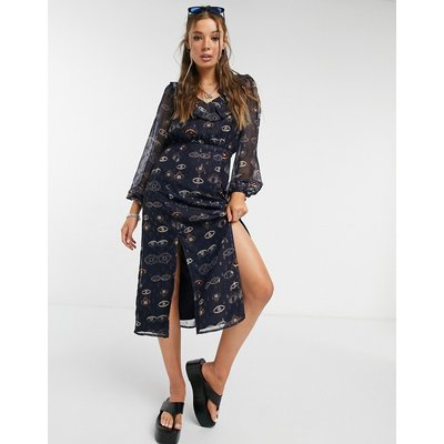 Never Fully Dressed midi tea dress with ruffle collar and splits in eye print-Navy