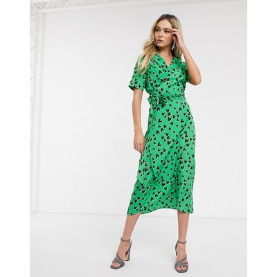 Never Fully Dressed wrap front maxi dress with high thigh split in green heart print-Multi