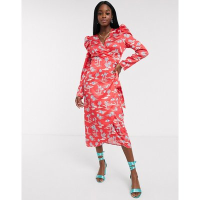 Never Fully Dressed wrap midi dress with puff sleeve detail in red palm print-Multi