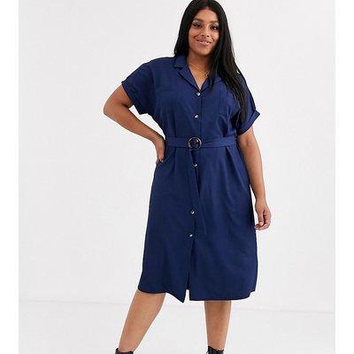 New Look Curve – Hemdkleid mit Gürtel-Navy
