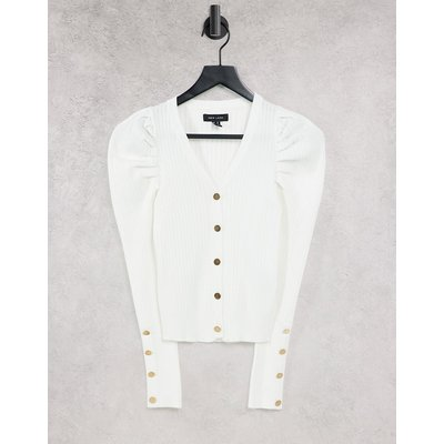 New Look – Gerippte Strickjacke mit Puffärmeln in gebrochenem Weiß | NEW LOOK SALE