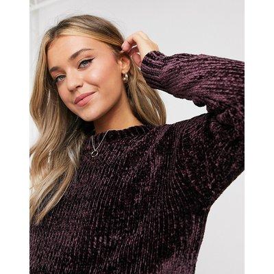 New Look – Kurzer Chenille-Pullover in Bordeauxrot
