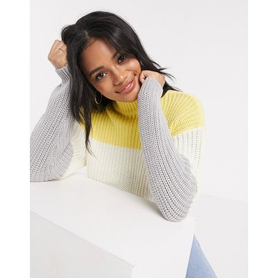 New Look – Pullover mit hohem Kragen und farbigem Farbblockdesign-Mehrfarbig