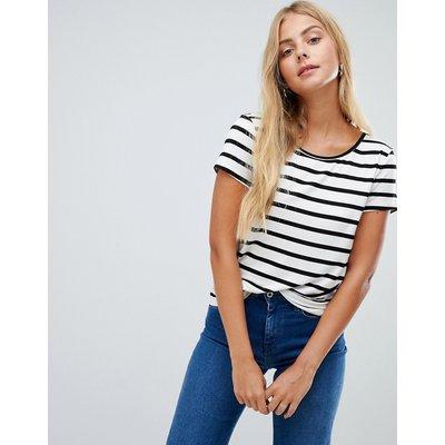 Only – Arli – Gestreiftes T-Shirt-Weiß