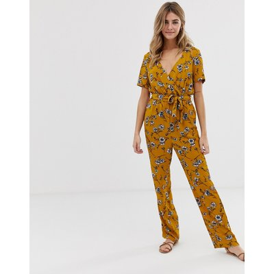 Only – Elva – Geblümter Wickel-Jumpsuit-Gelb