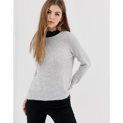 ONLY Only – Isabelle – Pullover aus Wollmischung mit Spitze am Ausschnitt-Grau