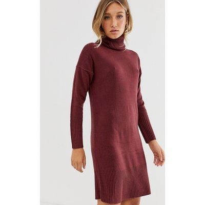 Only – Langärmliges Pulloverkleid mit Rollkragen-Rot