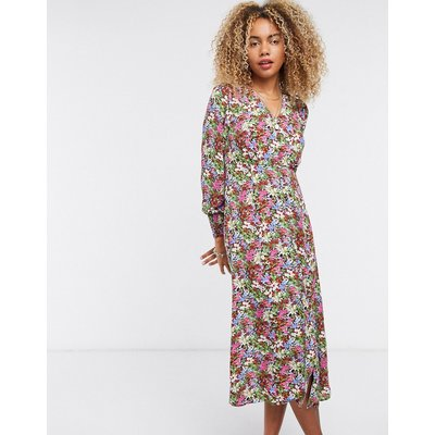 Only midi tea dress with button front in pink floral-Multi