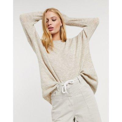 Only – Mirna – Langärmliger Pullover in Stone-Grau