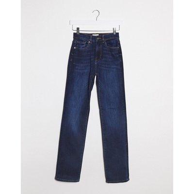 Only – Nahla – Gerade geschnittene Jeans mit hohem Bund in Dunkelblau | ONLY SALE