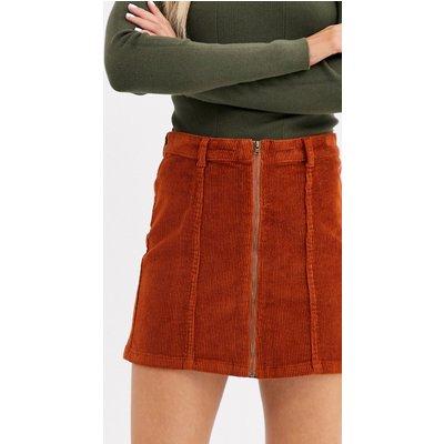 Only Nyla corduroy zip front a line skirt-Orange