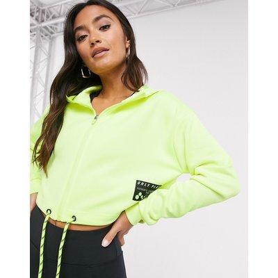 Only Play – Judie – Langärmliges Kapuzensweatshirt in Safety-Gelb mit Reißverschluss