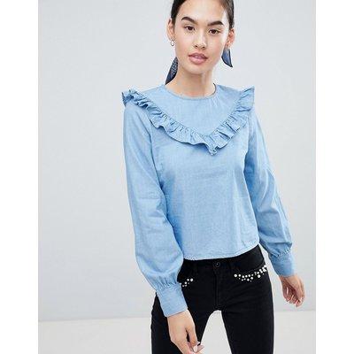 ONLY Only – Siga – Jeansbluse mit gerüschtem Vorderbesatz-Blau