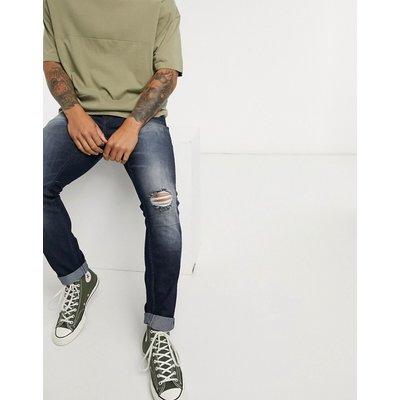 Only & Sons – Schmal geschnittene Jeans in dunkler Waschung-Blau