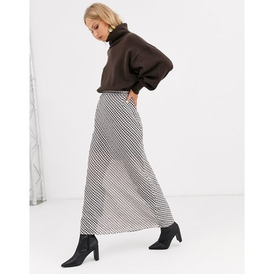 & Other Stories checked sheer layer maxi skirt in multi