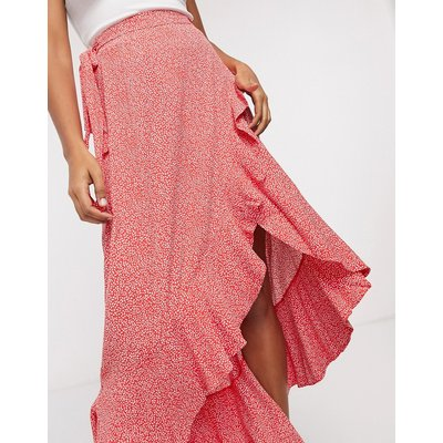 & Other Stories eco floral print ruffle wrap maxi skirt in red