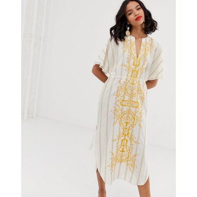 & Other Stories embroidered v-neck cotton kaftan with yellow details-Multi