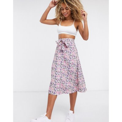 & Other Stories floral print button through midi skirt in multi