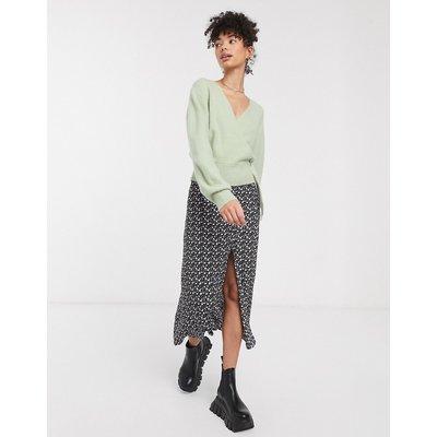 & Other Stories floral print split detail midi skirt in black