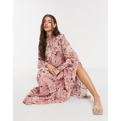 & Other Stories romantic chiffon floral maxi dress in pink