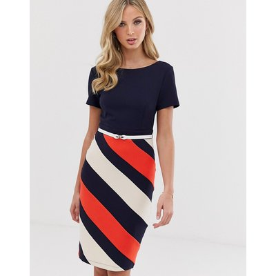 Paper Dolls capped sleeve 2-in-1 pencil midi dress with striped skirt-Multi