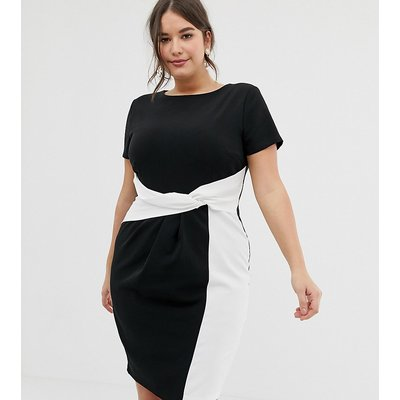Paper Dolls plus bodycon midi dress in colour block with twisted waist detail in mono-Multi