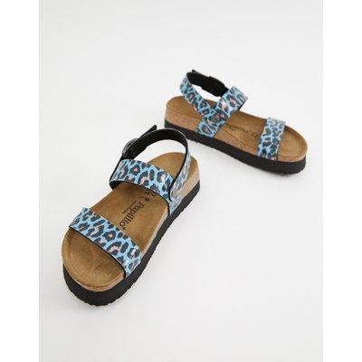 Papillio by Birkenstock – Flache Sandalen mit Fersenriemen und Leopardenmuster-Blau