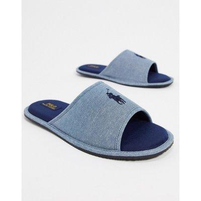 Polo Ralph Lauren – Slider-Pantoffeln in Chambray-Blau