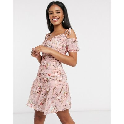 Pretty Darling ruched detail peplum dress in floral-Multi