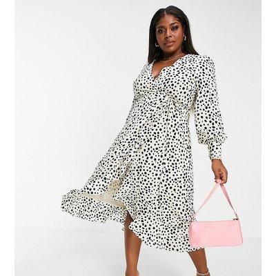 Pretty Lavish Curve wrap tie midi tea dress in cream spot print-White