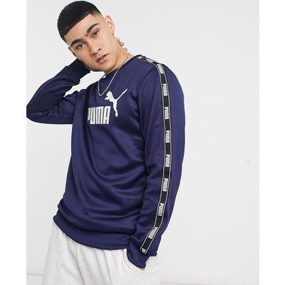 PUMA – Poly – Sweatshirt in Marineblau mit Rundhalsausschnitt und Zierband | PUMA SALE