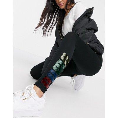 Puma – Schwarze Leggings mit mehrfarbigem Logo
