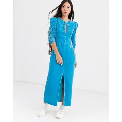 Rachel Antonoff margaret velvet midi tea dress-Blue