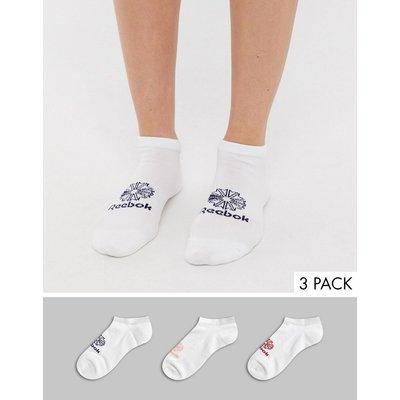 Reebok – Classic Foundation – Weiße Füßlinge mit buntem Logo-Mehrfarbig