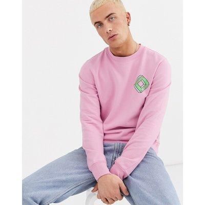 Scotch & Soda – Sweatshirt mit Rundhalsausschnitt und bedruckter Vorderseite-Rosa