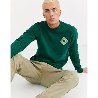 Scotch & Soda – Sweatshirt mit Rundhalsausschnitt und bedruckter Vorderseite-Grün