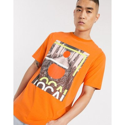 Scotch & Soda – T-Shirt mit Rundhalsausschnitt und Fotoprint-Orange