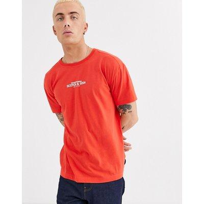 Scotch & Soda – T-Shirt mit Rundhalsausschnitt und Logo-Rot