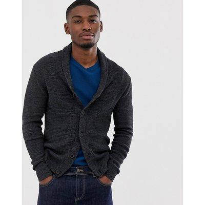 Selected Homme – Dunkelgraue Strickjacke aus Bio-Baumwolle mit Schalkragen