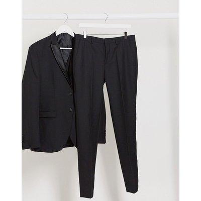 Selected Homme – Schmal geschnittene Smokinghose aus Wolle in Schwarz